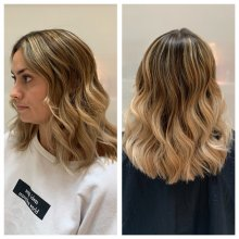 Shoulder length hair coloured into a creamy balayage by Cinzia at the klinik salon London