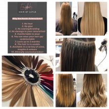 Images of how Easilocks extensions are applied at the klinik hairdressing London