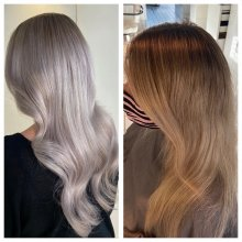 Before and after of hair being dark blonde to silver white by Leyla at the klinik hairdressing Lndon