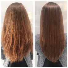 Frizzy damaged hair had Redken Heatcure treatment with a smooth amazing finish at the klinik salon London EC1R 4QE