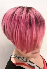 Pink textured bob shape coloured with a natural root drag by Anna at the klinik hairdressing London EC1R 4QE