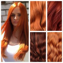 Images of five different read haircolours promoting a Halloween offer at the klinik hairsalon