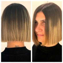 Two images of a perfect bob cut by Cinzia our graduate stylist at the klinik salonin London