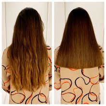 Long hair trimmed up as a one length haircut to look super sharp done by Cinzia at the klinik hairdressing London