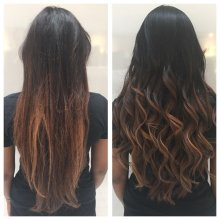 Long hair has been trimmed and blowdried. As hair was very brittle and dry, Unites 7seconds conditioning spray was used to detangle it and then used Olivia Garden brushes and GHD irons to get the perfect finish.