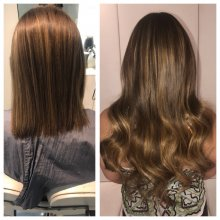 shoulder length hair has been extended using Easilocks system. 100 strands was used in 3 different shades. All done by Leyla at the klinik salon London