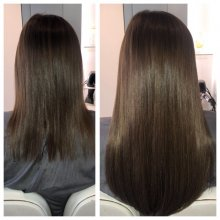 Easilocks has been used to extend the clients hair. 100 strands using 14 inch Light Brown. All done by Leyla at the klinik hairdressing