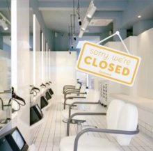 the klinik salon showing a closed sign due to covid lockdown no 2