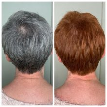 Before and after from Grey to copper at the klinik salon London