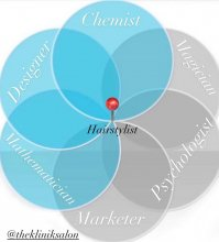 A blue venn diagram showing the many skillsets of a hairdresser