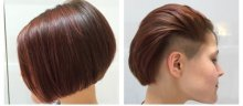 Medium long hair cut into a classic bob with a section on the side being undercut done by Anna at the klinik hairdressing London