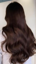 Long dar brown hair on a client at the klinik salon London done by Leyla