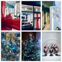 Six pictures of Christmas decorations done at the klinik hairdressing London