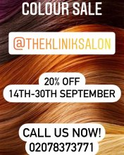 Colour Sale offer poster at the klinik hairdressing througout September.