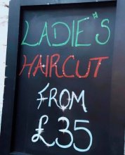 Poster showing our haircuts starts from £35 at the klinik salon London