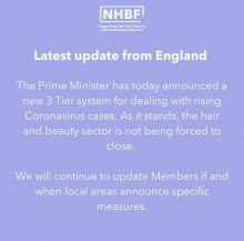 Blue post from NHBF regarding hairdressing salons can still continue to trade in England