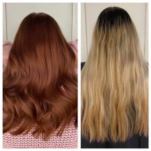 Before and after on a blonde hair turning a copper red at the klinik salon London
