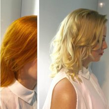 Copper colour change to a cool blonde using Olaplex