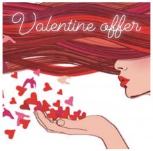 Valentine offer poster with a red hair flowing across with the girl blowing heart kisses for a Valentine colour offer at the klinik hairdressing